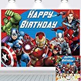 Avengers Background Marvel Birthday Party Supplies Backdrop Superhero Background for Photography Kids Birthday Banner Boys Birthday Party Decorations 7x5Ft