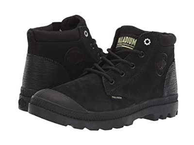 Palladium Pampa Lo Cuff Leather (Black/Green Sheen) Women