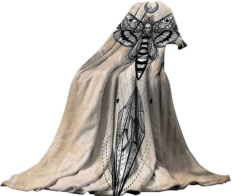 QINYANHome Soft Travel Blanket(90 x70 ) Throw Size for Kids Boys Women Men All SeasonFantasy House Decor Dead Head Hawk Moth with Luna and Stone Spiritual Magic Skull Illustration Tan Black.