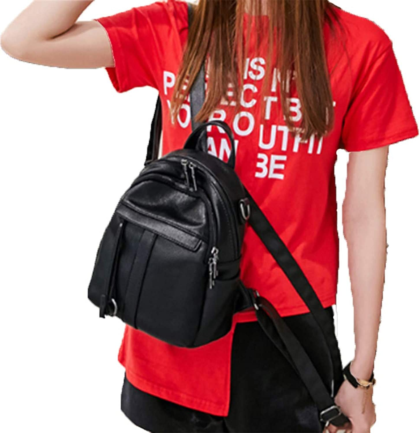 HEXUAN, Simple and Fashionable Lady's Soft Leather Backpack MiniBackpack,Black Trumpet