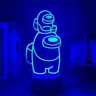Among Us Lámpara de Escritorio de ilusión 3D Decoración de Mesa de Centro Luces de Noche con Sensor LED, Lámpara de Equipo de luz Nocturna con Control Remoto RBG, Letrero de neón