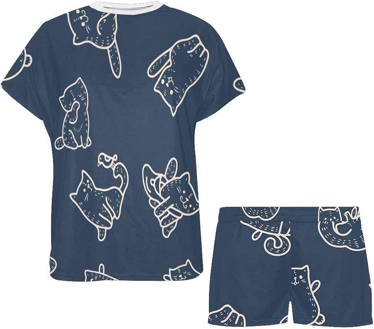 INTERESTPRINT Funny Cats Animals Women's Pajama Sets Short Sleeve Shorts - Pajamas for Women