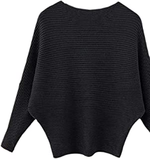 Womens Boat Neck Pullover Loose Batwing Sleeve Wool Sweater Winter Tops