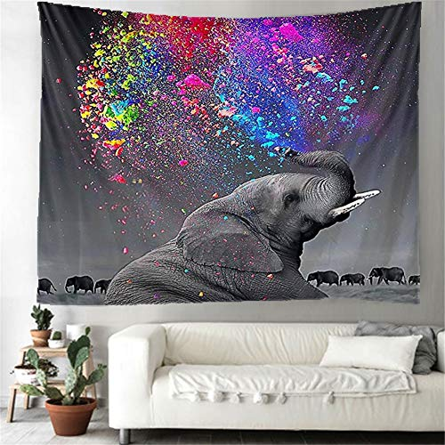 N / A Tapestry Wall Hanging Elephant Tapestry Indian Wall art Tapestries Beach Throw Hippie Bohenian Bedding Yoga Mat Picnic Rugs for Home Bedroom Living Room Holiday Decoration 130x150cm H356