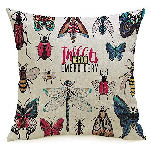 N\A Decorative Linen Square Throw Pillow Cover Case Moth Lady Dangerous Dragonfly Summer Brown Wings Forest Vintage Ant Small Buzz Fly Damselfly Set Pillowcase Cushion Sham for Couch