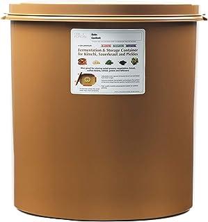 Crazy Korean Cooking Premium Kimchi, Sauerkraut Fermentation and Storage Container with Inner Vacuum Lid - 11. Gallon (45...