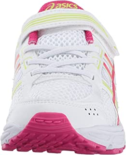 ASICS Unisex PRE-Contend 4 PS Running Shoe, White/Pink/Energy Green, 1.5 Medium US Little Kid