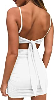 Women Adjustable Straps Mustard Mini Bodycon Dress Sleeveless Sexy Backless Long Tie Up on Back Party Dress
