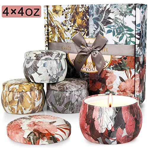 AYOUYA 4 in 1 Duftkerzen Set von Natürlichem Sojawachs Rosmarin Lavendel Vanille Freesie Aroma Kerzen für Entspannung Yoga Verabredung Bad Geschenk