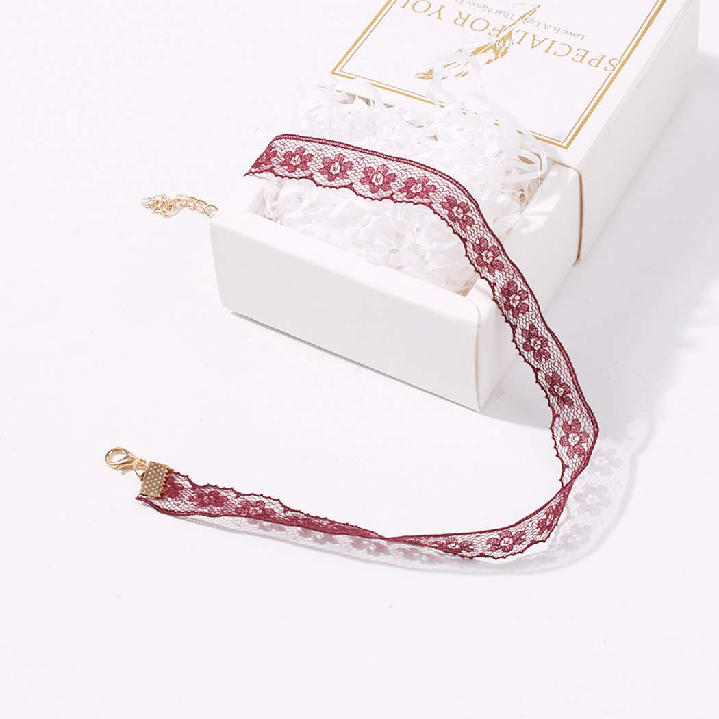 Jakawin Lace Choker Necklace Jewelry Red Collar Necklaces Fashion Chokers for Women and Girls NK206