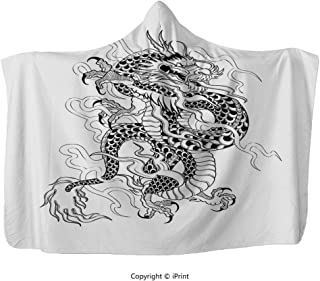 Wearable Hooded Blanket Hood Poncho Cloak Cape/ Japanese Dragon,Sketch Artwork Style Ancient Mighty Figure with Claws Fire Tattoo Decorative,Black White/ Men Women Cozy Throw Fleece Soft Warm Winter N