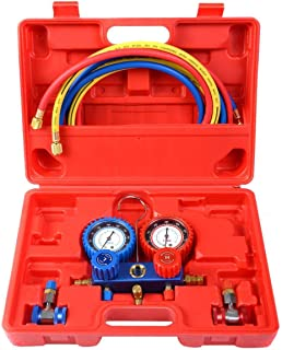 Goplus AC A/C Manifold Gauge Set for R134A Refrigerants, 6FT Colored Hose Air Conditioner Freon Maintenance w/Hoses Coupler Adapters, Red