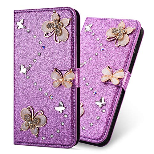 Ultra Mince Luxe Bling Glitter Sparkle Éclatant Strass Diamant Butterfly Motif Dragonne Stand Bookstyle Folio PU Cuir Flip Magnétique Cartes Slot Housse Coque pour Huawei P8 Lite 2017