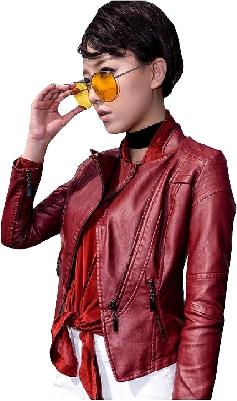 Abetteric Women's Oversized Moto Biker Fall Winter Leather PU Jackets Coat
