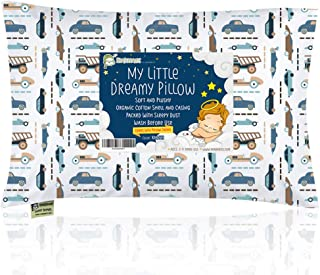 KeaBabies Toddler Pillow with Pillowcase - 13X18 Soft Organic Cotton Baby Pillows for Sleeping - Machine Washable - Toddlers, Kids, Infant - Perfect for Travel, Toddler Cot, Bed Set (Vroom)
