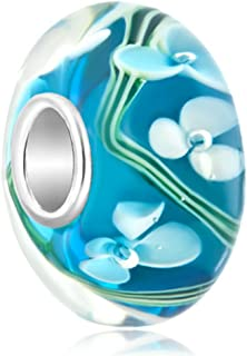 LovelyCharms 925 Sterling Silver Flower Bubbles Murano Glass Beads Fit Charm Bracelets