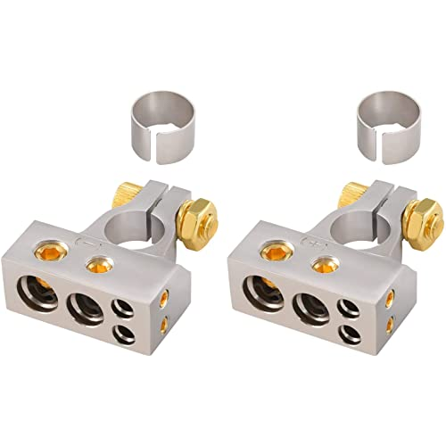 2pcs GOLD Dual 4 AWG Gauge Ring Battery Terminal Adapters Marine Grade Audio UTV