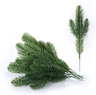 Meiliy 30pcs Artificial Greenery Xmas Pine Picks Pine Leaves Pine Twigs for Crafts Indoor and Outdoor Christmas Holiday Home Garden Decor
