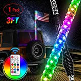 Nilight 1PC 3FT Spiral RGB Led Whip Light with Spring Base Chasing Light RF Remote Control Lighted Antenna Whips for Can-Am ATV UTV RZR Polaris Dune Buggy Offroad Truck, 2 Years Warranty