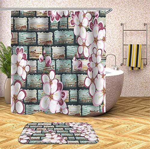 ZZZdz behang van bakstenen. bloemen. Douchegordijn, waterdicht, gemakkelijk te reinigen. 180 x 180 cm. Tapijt Plus velours. 40 x 60 cm. Badkameraccessoires