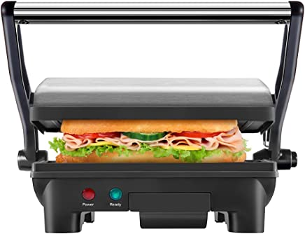 Chefman RJ02-180 Panini Press Grill and Gourmet Sandwich Maker w/Non-Stick Coated Plates Opens 180 Degrees to Fit Any Type or Size Food, Dishwasher Safe Removable Drip Tray Stainless Steel/Black