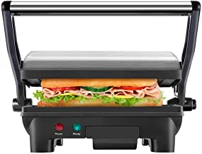 New House Kitchen Stainless Steel Non-Stick Panini Press Grill & Gourmet Sandwich Maker with Removable Drip Tray and 180 D...