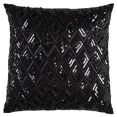 Rizzy Home PILT11166BK002020 One of A Kind Diamond Sequences Textural Decorative Pillow,Black