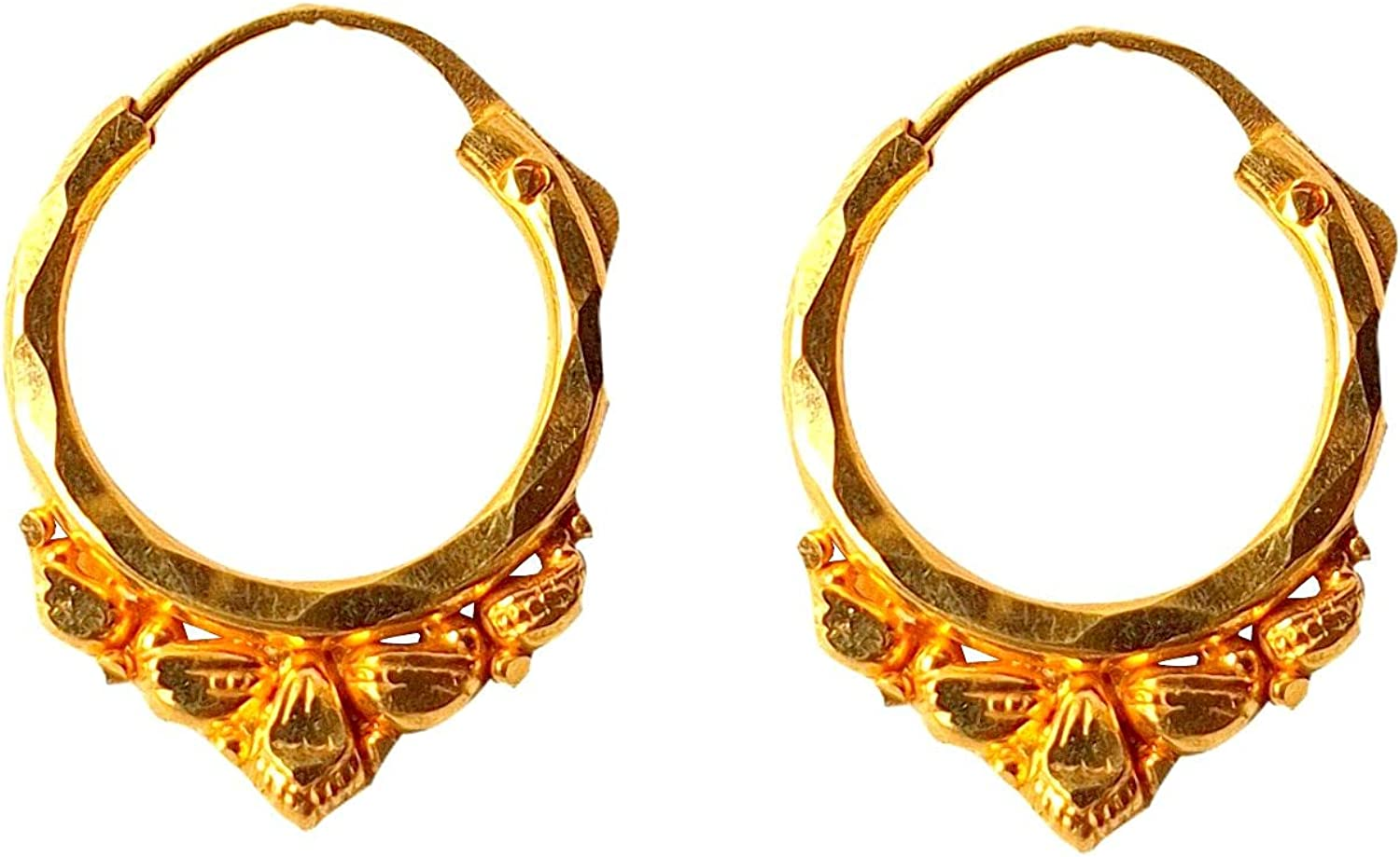 Certified Solid 22K/18K Yellow Fine Gold Carved Gorgeous Design Hoop Earrings Available In Both 22 Carat And 18 Carat Fine Gold, For Women,Girls,Kids,Gifts,Bridal,Wedding,Engagement & Celebrations