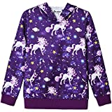 Star Unicorn Hoodie for Girls Sweatshirt 3D Pullover Hooded Clothes Size 8 9