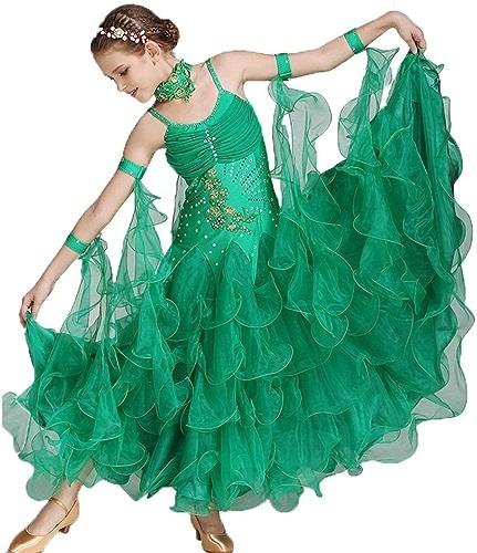 Diyade Danse Moderne for Enfants Robe Concours Danse Jupe Valse Valse Strass élingue Grande Jupe Swing (Couleur   vert, Taille   L)