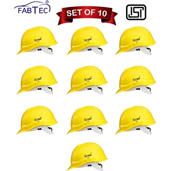 Fabtec Safety Helmet Hard Hat Head Protection Outdoor Work Head Safety Helmet with ISI Mark (Set of 10) (Yellow)