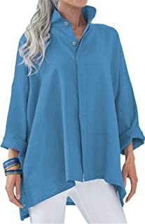 Stand Collar Long Sleeve Button Front Side Split Slit High Low Hem Swing Trapeze Smock Blouse Shirt Top
