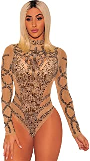 スリムボトムスシャツ 女性長袖モックネックラインストーンシースルーメッシュボディスーツレオタード伸縮性のあるジャンプスーツタンクトップクラブウェアロンパースボディスーツのひも タイツ (色 : Nude, サイズ : L)