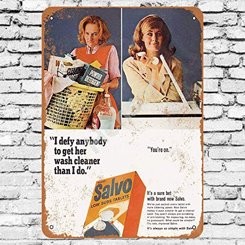 Henson 1965 Salvo Wasmiddel Traditionele vintage Tin Sign Logo 12 * 8 Advertising Eye-Catching Muurdecoratie