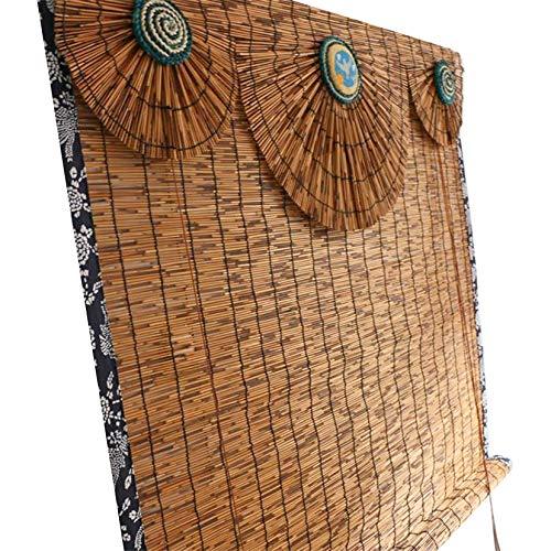 LBYDXD Persianas De Caña - Cortina De Bambú, Aislamiento térmico, protección Solar, filtrado de luz, sombreado, para Exteriores E Interiores, Cortinas Opacas con Polea
