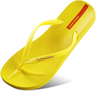 Comfortable/beautiful sandals and slippers Outer Wear Couple Flip Flops Ladies Casual Sandals And Slippers Summer Pinned Flat Beach Shoes Women (Color : Yellow)