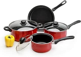 Pots and Pans Set Nonstick, TOPTIER 7 Pieces Cookware Set with 2 Saucepans, 1 Dutch Oven, 1 Open Skillet, Cooking Pots and Non Stick Pans Set, Bright Red