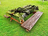Ambesonne Nature Outdoor Tablecloth, Largest Monkey Pod Tree in Thailand Eastern Green Big Branches Growth Eco Photo, Decorative Washable Picnic Table Cloth, 58' X 84', Green Brown