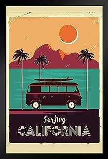 Surfing California Coastline Vintage Van Palm Trees Black Wood Framed Art Poster 14x20