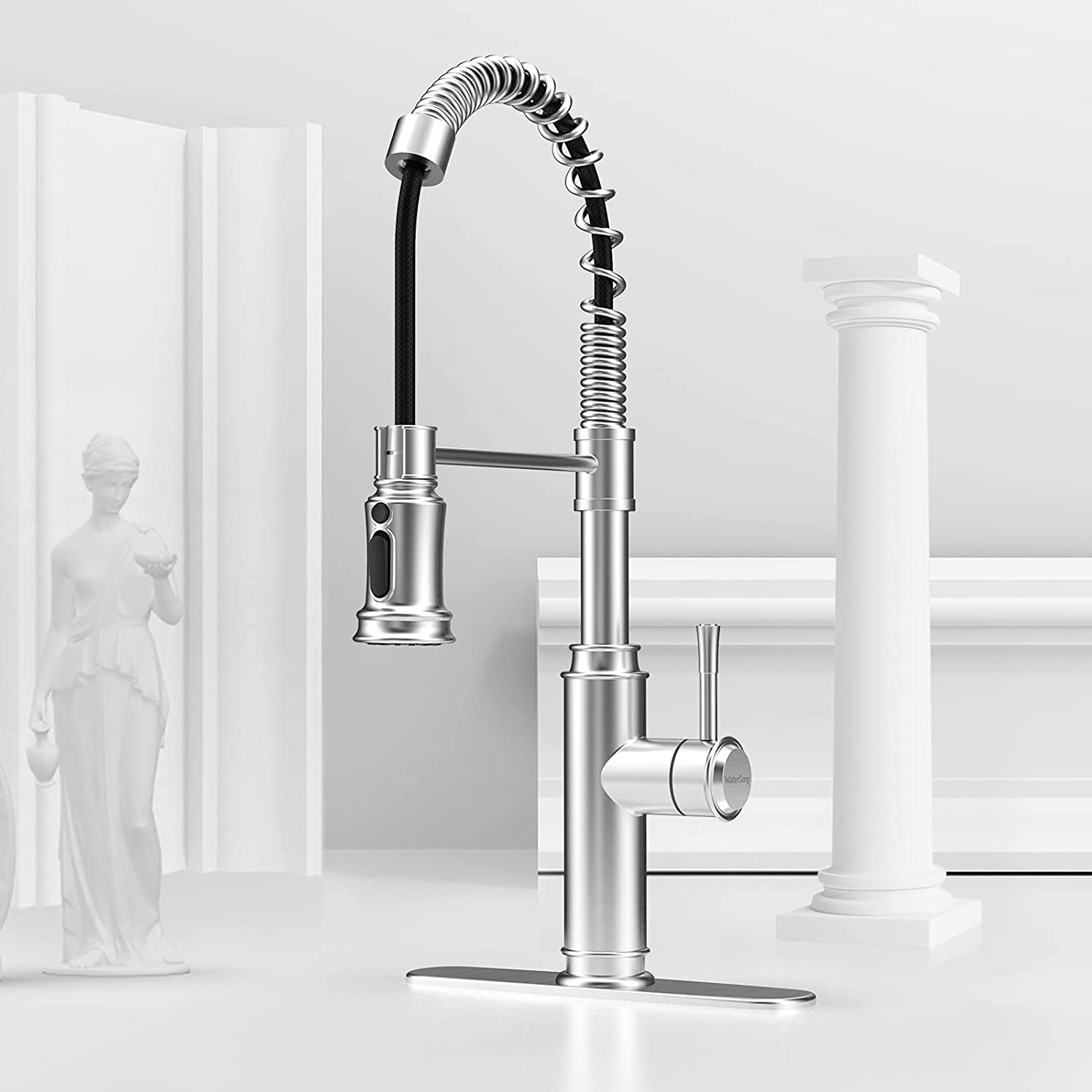 WaterSong Stainless Steel Spring Pull-Down Kitchen Faucet $39.99 Coupon