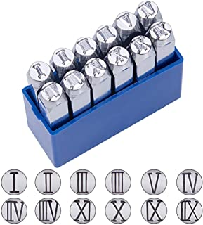 12 Pcs Metal Roman Numerals Stamp Set,Metal Punch Stamp Stamping Tool,Hard Carbon Steel Tools.Used in Metal,Jewelry,Leather,Wood Stamping Stamps. (Blue)