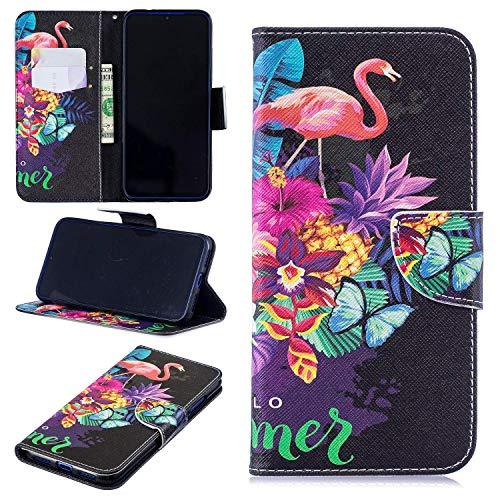 kelman Cáscara Case para Samsung Galaxy A20E Funda Cáscara PU Cuero de + Suave Silicona TPU Billetera Tapa del tirón Cáscara [BF29/Flamencos]