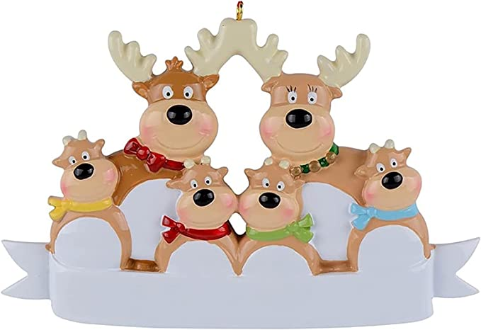 Personalized Reindeer Family of 2, 3, 4, 5, 6 & 7 Christmas Tree Hanging Ornament 2021, Holiday Resin Deer Winter Decor, Cute DIY Festival Home Decorations for Family, Perfect Wall Sign and Gift Idea
