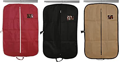 Kuber Industries 3 Piece Non Woven Foldable Coat/Blazer Cover, Black, Brown and Maroon