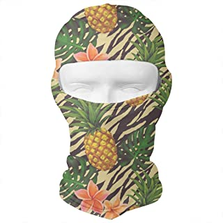 Giinly Seamless Pattern with Pineapple and Tropic Flowers Outdoor Cycling Ski Motorcycle Balaclava Mask Sunscreen Hat Wind...