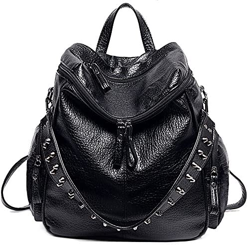 UTO Women Backpack Purse 3 ways PU Washed Leather Rivet Studded Ladies Rucksack Shoulder Bag product image