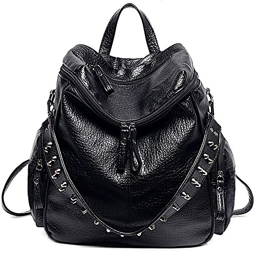 UTO Women Backpack Purse 3 ways PU Washed Leather Rivet Studded Ladies Rucksack Shoulder Bag B Black