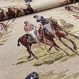 Kt KILOtela Tela de tapicería - Jacquard Gobelino - Retal de 100 cm Largo x 280 cm Ancho   Jugadores de Polo - Marrón ─ 1 Metro