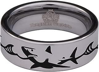 Thorsten SEA Life Shark Predator Fish Sea Print Pattern Ring Flat Tungsten Ring 4mm Wide Wedding Band from Roy Rose Jewelry