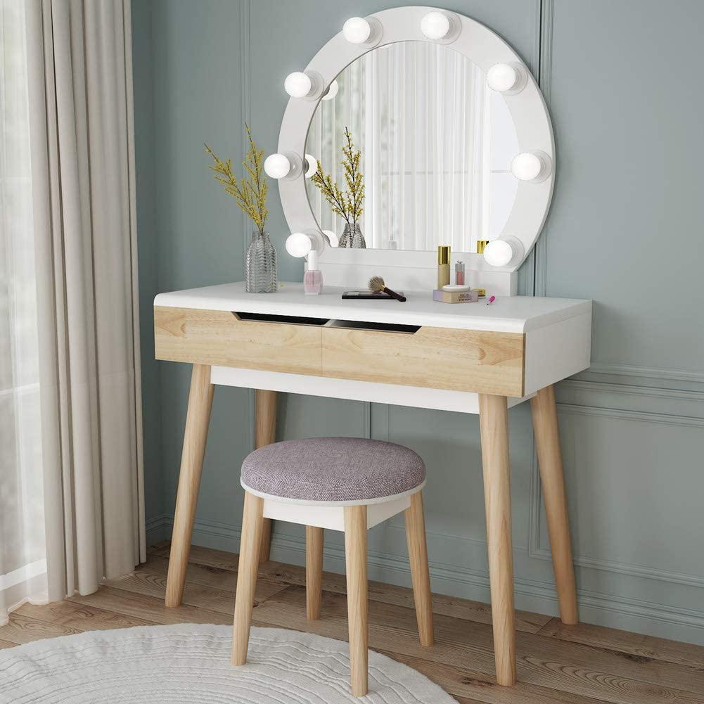 Tribesigns Vanity Free shipping anywhere in the nation Set with Round Large-scale sale Van Makeup Mirror Lighted Wood